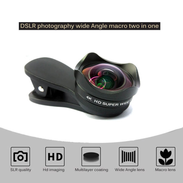 Professional 4K HD 120 Degree Wide Angle Len 15X Macro Phone Camera Lens 15mm