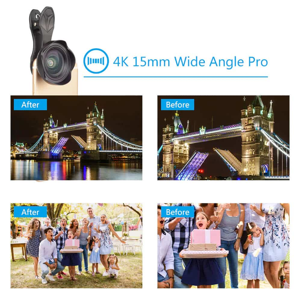 Apexel 15mm 4K Super Wide Angle Pro Lens for SmartPhone SOP