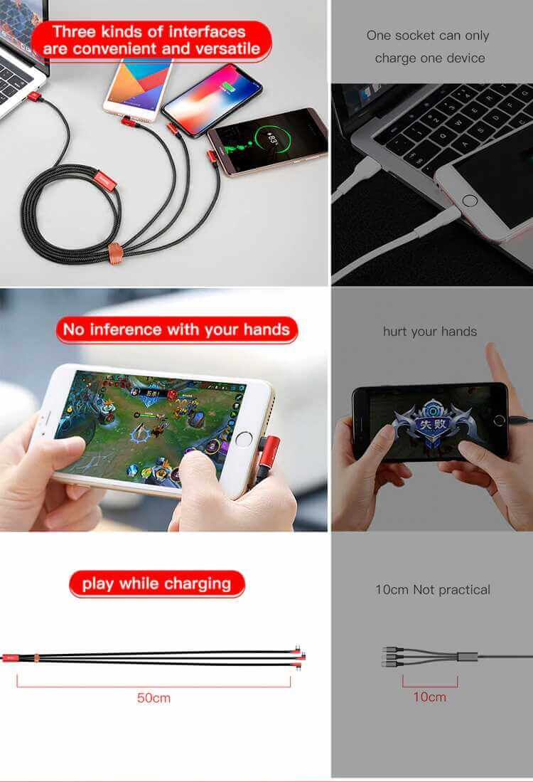 Baseus MVP 3-in-1 Mobile game Cable SOP