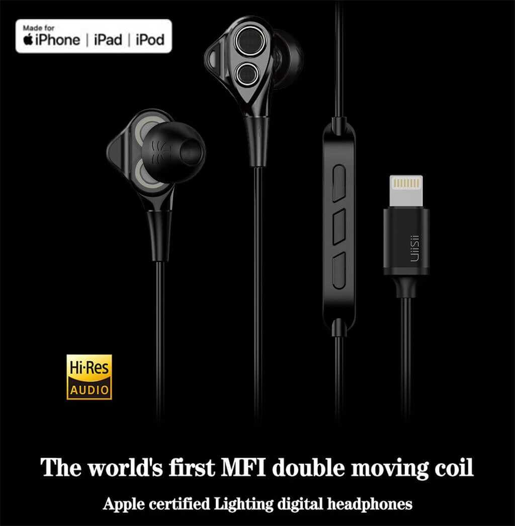 UiiSii I8 MFI Certified Lightning Earphone for iPhone SOP