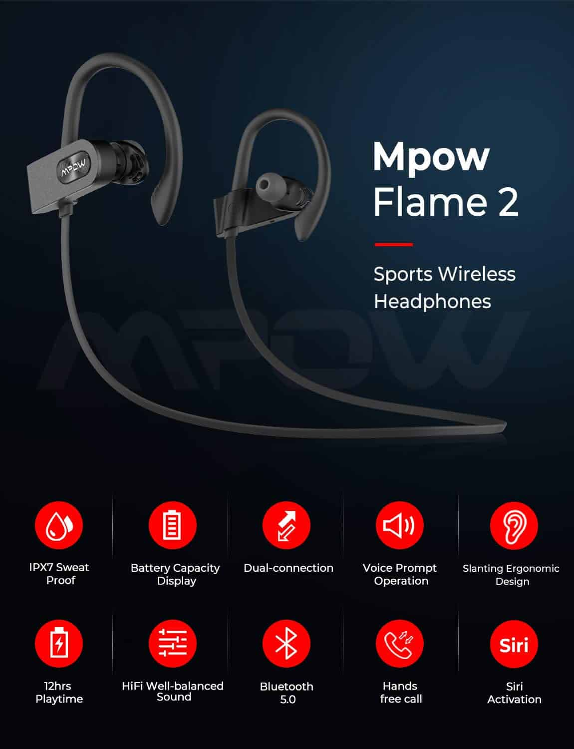 MPOW Flame 2 Bluetooth Headphones SOP
