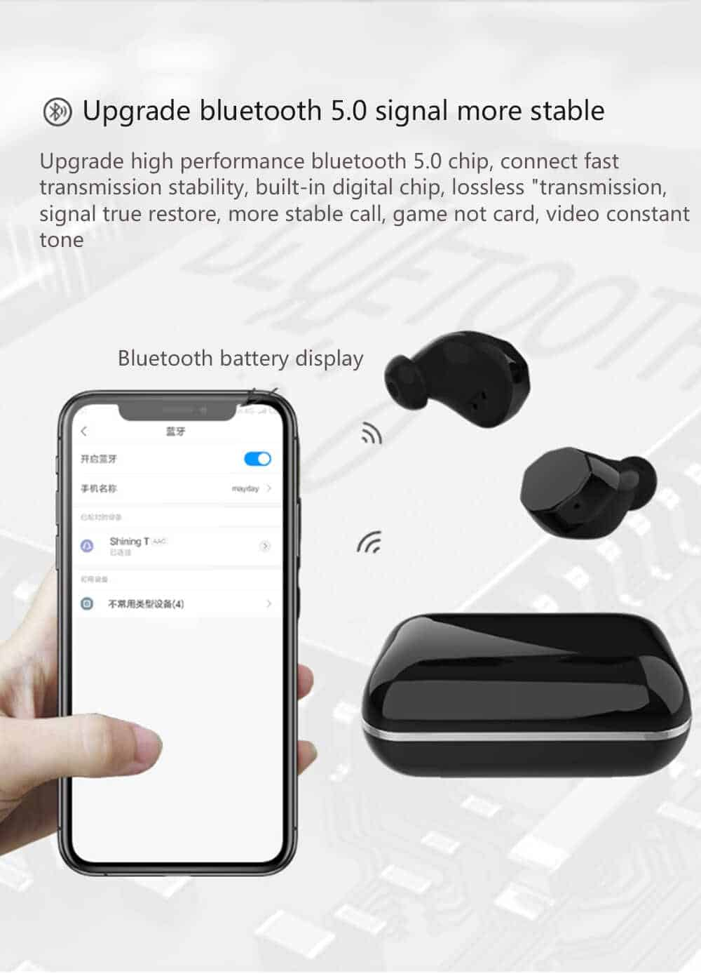 UiiSii TWS12 Ture Wireless Bluetooth Earphones SOP